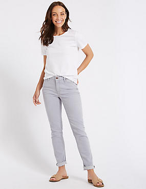 Relaxed Slim Mid Rise Jeans , LILAC, catlanding
