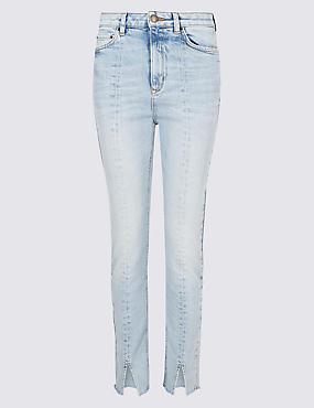 Slim Leg Mid Rise Jeans , LIGHT BLUE, catlanding