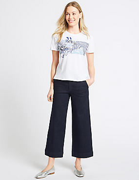 Mid Rise Wide Leg Culottes