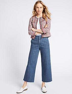 Striped Mid Rise Culotte Jeans