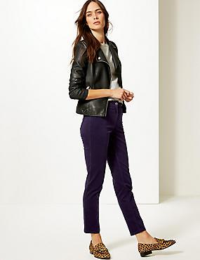 Cotton Rich Slim Leg Trousers, DEEP PURPLE, catlanding
