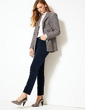 Cotton Rich Slim Leg Trousers, NAVY, catlanding