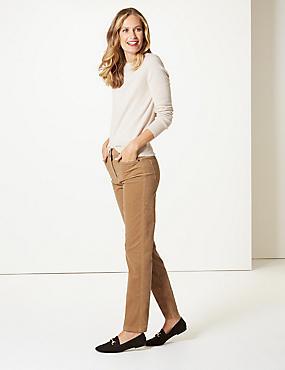 Corduroy Mid Rise Straight Leg Jeans , CAMEL, catlanding