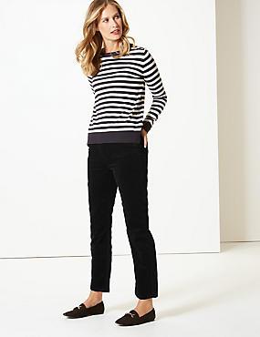 Corduroy Mid Rise Straight Leg Jeans , BLACK, catlanding