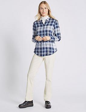 Cotton Rich Straight Leg Corduroy Trousers, WINTER WHITE, catlanding