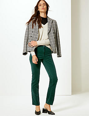 Corduroy Straight Leg Trousers  , BOTTLE GREEN, catlanding