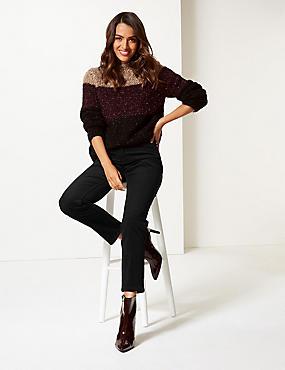 Cotton Rich Corduroy Slim Leg Trousers, BLACK, catlanding