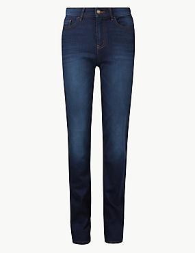 Mid Rise Straight Leg Jeans, DARK INDIGO, catlanding