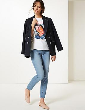 Mid Rise Straight Leg Jeans, LIGHT INDIGO, catlanding