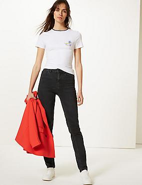 Mid Rise Straight Leg Jeans, BLACK, catlanding