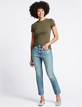 Mid Rise Skinny Leg Jeans , LIGHT BLUE MIX, catlanding