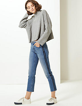 Mid Rise Straight Leg Cropped Jeans, MEDIUM BLUE, catlanding