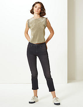 Mid Rise Straight Leg Cropped Jeans, BLACK MIX, catlanding