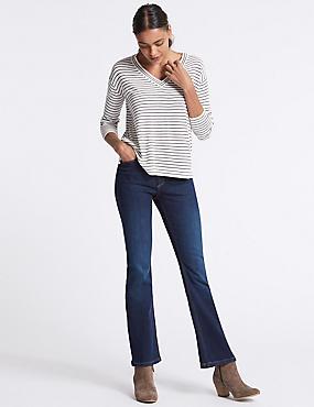 Sculpt & Lift Mid Rise Slim Boot Cut Jeans, INDIGO, catlanding