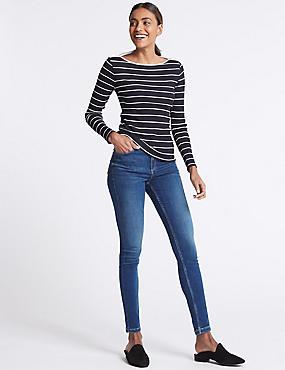 Sculpt & Lift Mid Rise Skinny Leg Jeans, MEDIUM BLUE, catlanding