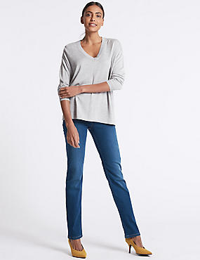Sculpt & Lift Straight Leg Jeans, MEDIUM BLUE, catlanding