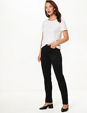 Sculpt & Lift Straight Leg Jeans, BLACK, catlanding