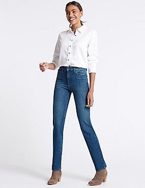 360 Contour Mid Rise Straight Leg Jeans, MEDIUM BLUE, catlanding