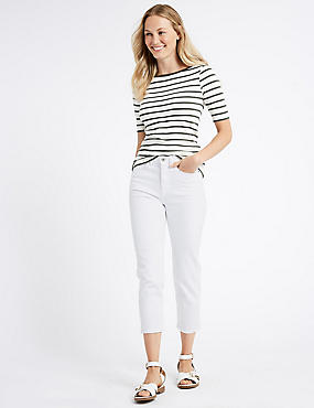 Sculpt & Lift Mid Rise Cropped Jeans, SOFT WHITE, catlanding