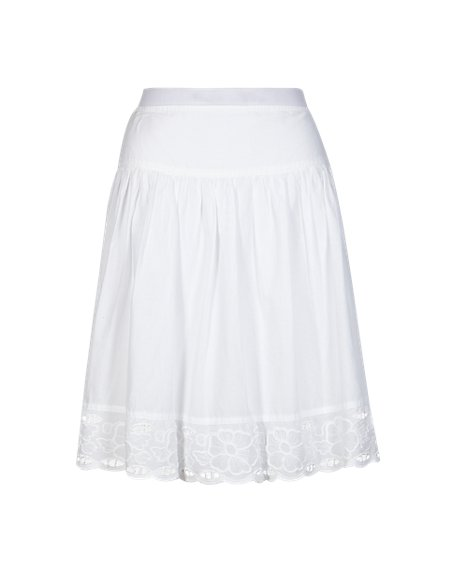 Pure Cotton Broderie Trim A-Line Skirt