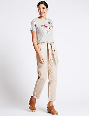 Pure Cotton Tie Waist Straight Leg Trousers