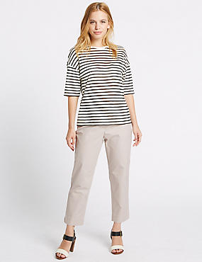 PETITE Cotton Rich Slim Leg Trousers