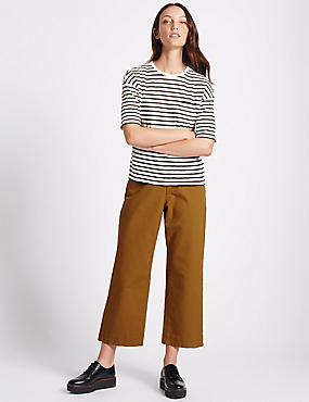 Cotton Rich Cropped Wide Leg Trousers