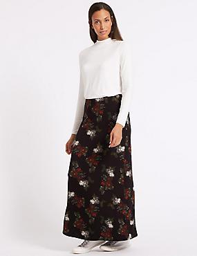 Jersey Maxi Skirt, BLACK MIX, catlanding