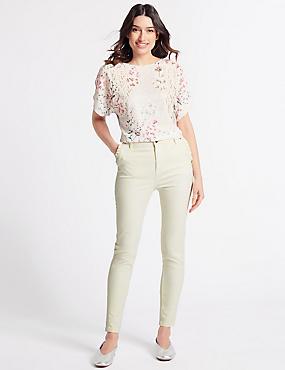Frill Pocket Roma Rise Skinny Leg Jeans, CREAM, catlanding