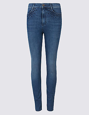 Embroidered Roma Rise Jeans , MEDIUM BLUE, catlanding