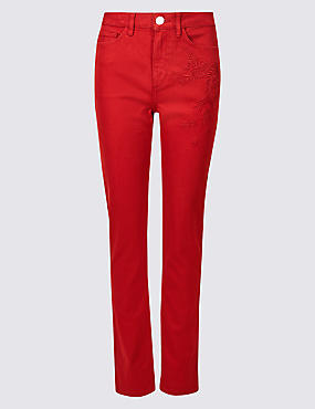 Embroidered Roma Rise Slim Leg Jeans , CHILLI, catlanding