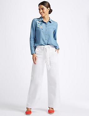 Wide Leg Plait Roma Rise Jeans , SOFT WHITE, catlanding