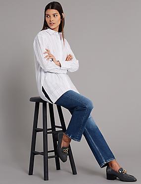 High Waist Ankle Straight Jeans , MEDIUM INDIGO, catlanding