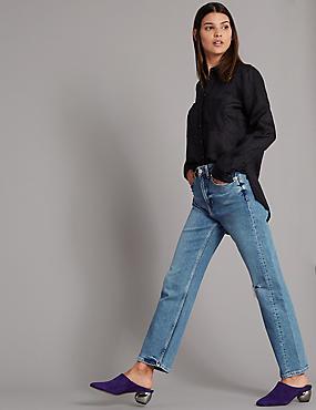 High Waist Ankle Straight Jeans , LIGHT INDIGO, catlanding