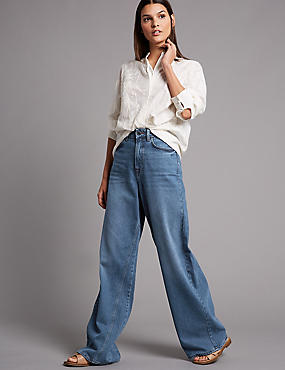 Wide Leg Mid Rise Flared Jeans , MEDIUM BLUE, catlanding