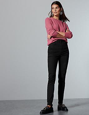 High Waist Skinny Leg Jeans , BLACK, catlanding