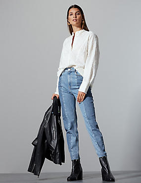 Seamed Straight Leg Jeans , LIGHT INDIGO, catlanding