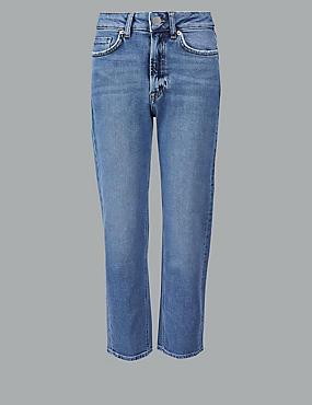 Straight Leg High Waist Ankle Grazer Jeans, , catlanding