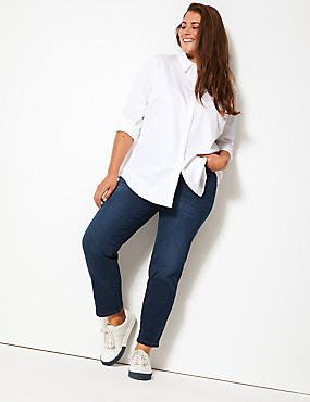 CURVE 360 Contour High Waist Straight Jeans, DARK INDIGO, catlanding