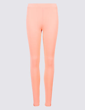 Lace Insert Skinny Leg Leggings, LIGHT PEACH, catlanding