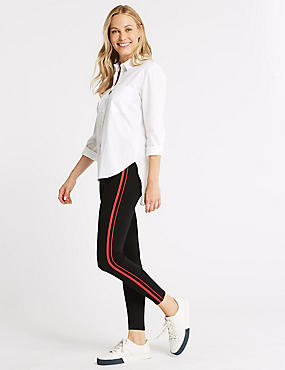 Trial Ponte Striped Leggings, BLACK MIX, catlanding