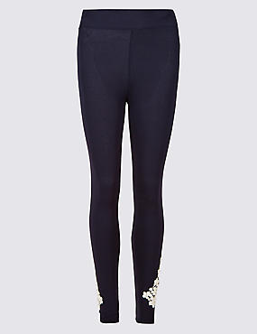 Embroidered Leggings, NAVY MIX, catlanding