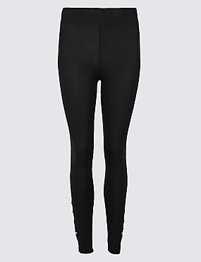 Embroidered Leggings, BLACK MIX, catlanding