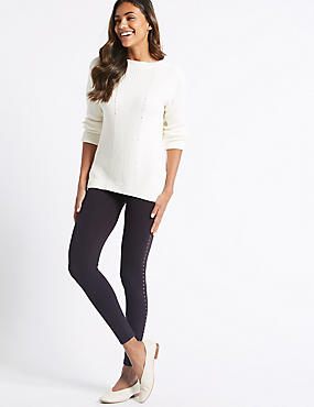 Cotton Rich Embellished Leggings , NAVY MIX, catlanding