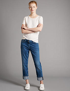 Mid Rise Ankle Grazer Girlfriend Jeans