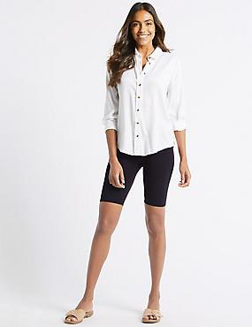Cotton Rich Legging Shorts, NAVY, catlanding