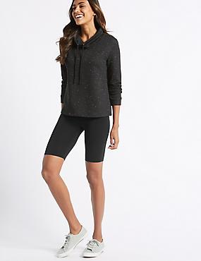 Cotton Rich Legging Shorts, BLACK, catlanding