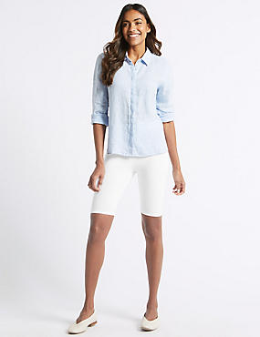 Cotton Rich Legging Shorts, WHITE, catlanding