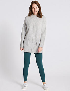 Cotton Rich Leggings, GREEN, catlanding