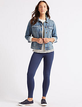 Cotton Rich Textured Leggings, NAVY, catlanding